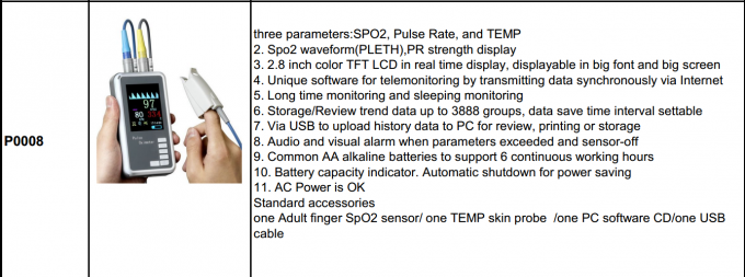 Medical Multi Parameter SPO2 / TEMP Hand Held Pulse Oximeter